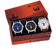 Armado AR-078BBW Combo Of 3 Stylish Analog Watch-For Men